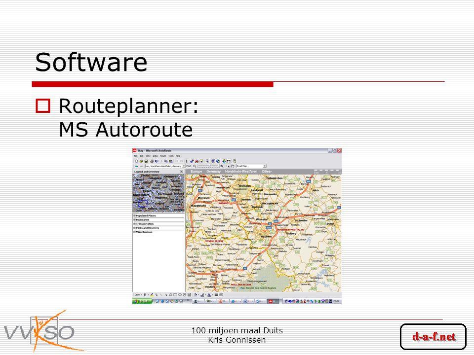 100 miljoen maal Duits Kris Gonnissen Software  Routeplanner: MS Autoroute