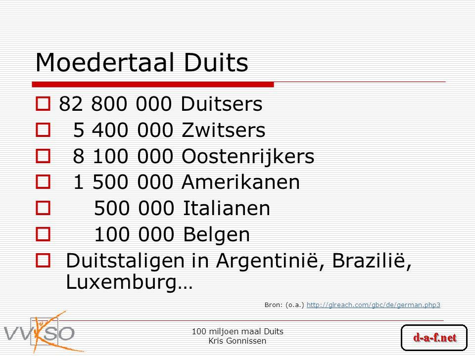 100 miljoen maal Duits Kris Gonnissen Moedertaal Duits  82 800 000 Duitsers  5 400 000 Zwitsers  8 100 000 Oostenrijkers  1 500 000 Amerikanen  500 000 Italianen  100 000 Belgen  Duitstaligen in Argentinië, Brazilië, Luxemburg… Bron: (o.a.) http://glreach.com/gbc/de/german.php3http://glreach.com/gbc/de/german.php3