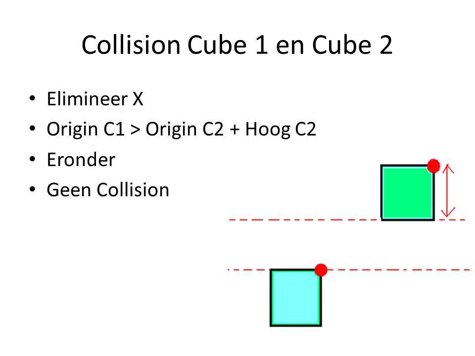 Collision Cube 1 en Cube 2 Elimineer X Origin C1 > Origin C2 + Hoog C2 Eronder Geen Collision