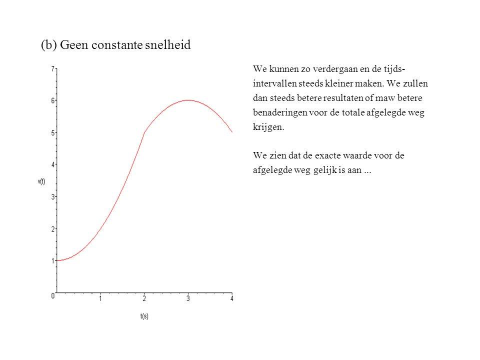 (b) Geen constante snelheid We kunnen zo verdergaan en de tijds- intervallen steeds kleiner maken. We zullen dan steeds betere resultaten of maw beter