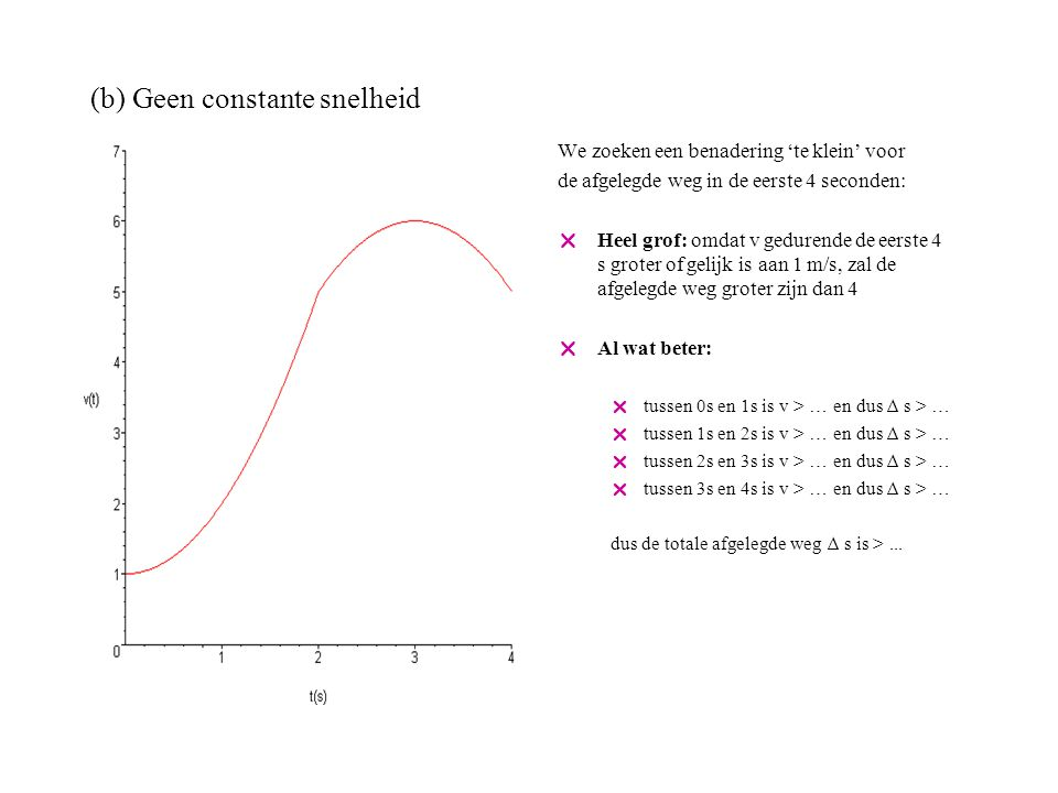 (b) Geen constante snelheid We zoeken een benadering 'te klein' voor de afgelegde weg in de eerste 4 seconden:  Heel grof: omdat v gedurende de eerste 4 s groter of gelijk is aan 1 m/s, zal de afgelegde weg groter zijn dan 4  Al wat beter:  tussen 0s en 1s is v > 1 en dus ∆ s > 1  tussen 1s en 2s is v > … en dus ∆ s > …  tussen 2s en 3s is v > … en dus ∆ s > …  tussen 3s en 4s is v > … en dus ∆ s > … dus de totale afgelegde weg ∆ s is >...
