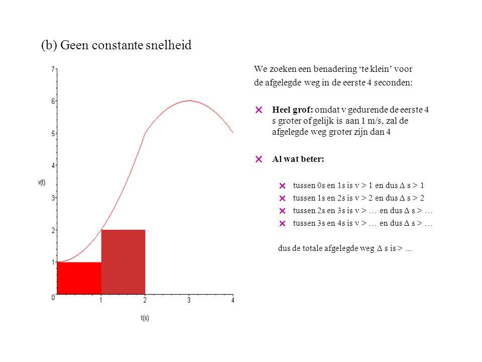 (b) Geen constante snelheid We zoeken een benadering 'te klein' voor de afgelegde weg in de eerste 4 seconden:  Heel grof: omdat v gedurende de eerste 4 s groter of gelijk is aan 1 m/s, zal de afgelegde weg groter zijn dan 4  Al wat beter:  tussen 0s en 1s is v > 1 en dus ∆ s > 1  tussen 1s en 2s is v > 2 en dus ∆ s > 2  tussen 2s en 3s is v > 5 en dus ∆ s > 5  tussen 3s en 4s is v > … en dus ∆ s > … dus de totale afgelegde weg ∆ s is >...