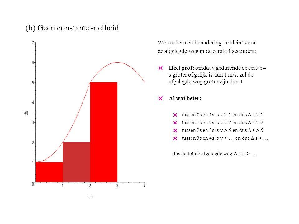 (b) Geen constante snelheid We zoeken een benadering 'te klein' voor de afgelegde weg in de eerste 4 seconden:  Heel grof: omdat v gedurende de eerste 4 s groter of gelijk is aan 1 m/s, zal de afgelegde weg groter zijn dan 4  Al wat beter:  tussen 0s en 1s is v > 1 en dus ∆ s > 1  tussen 1s en 2s is v > 2 en dus ∆ s > 2  tussen 2s en 3s is v > 5 en dus ∆ s > 5  tussen 3s en 4s is v > 5 en dus ∆ s > 5 dus de totale afgelegde weg na 4s is > 13