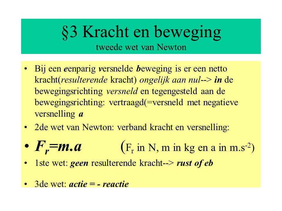 §3 Kracht en beweging tweede wet van Newton Bij een eenparig versnelde beweging is er een netto kracht(resulterende kracht) ongelijk aan nul--> in de