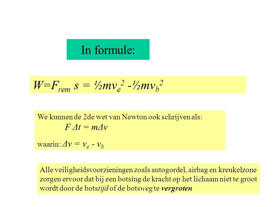 In formule: W=F rem s = ½mv e 2 -½mv b 2 We kunnen de 2de wet van Newton ook schrijven als: F Δt = mΔv waarin: Δv = v e - v b Alle veiligheidsvoorzien