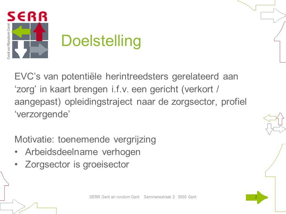 Gent en Rondom Gent SERR Gent en rondom Gent Seminariestraat 2 9000 Gent2 Doelstelling EVC's van potentiële herintreedsters gerelateerd aan 'zorg' in kaart brengen i.f.v.