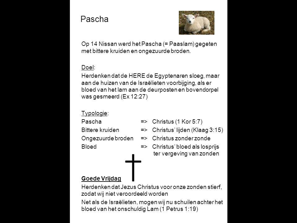 Pascha Op 14 Nissan werd het Pascha (= Paaslam) gegeten met bittere kruiden en ongezuurde broden. Doel: Herdenken dat de HERE de Egyptenaren sloeg, ma