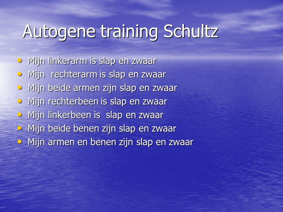 Autogene training Schultz Autogene training Schultz Mijn linkerarm is slap en zwaar Mijn linkerarm is slap en zwaar Mijn rechterarm is slap en zwaar M