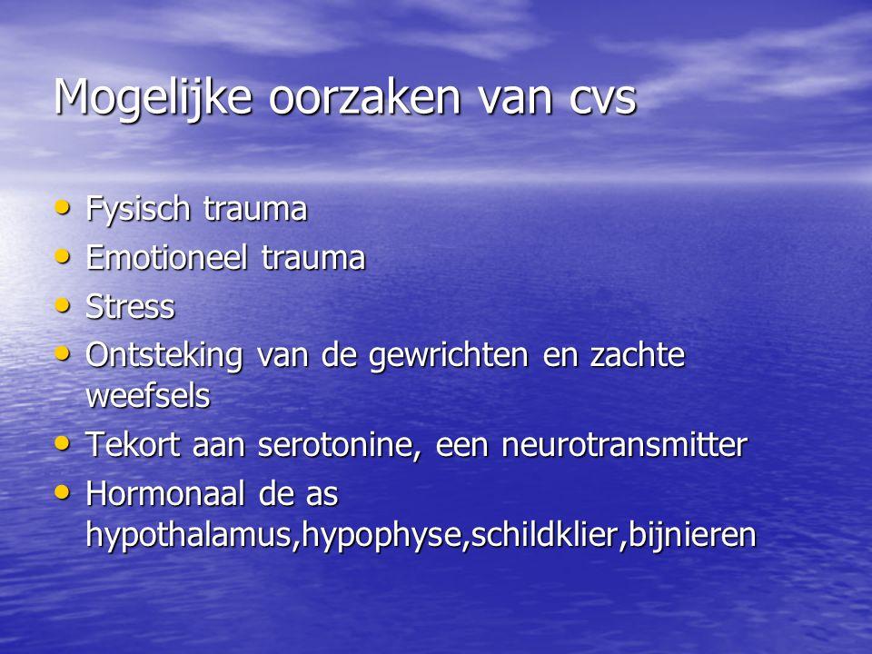 Mogelijke oorzaken van cvs Fysisch trauma Fysisch trauma Emotioneel trauma Emotioneel trauma Stress Stress Ontsteking van de gewrichten en zachte weef