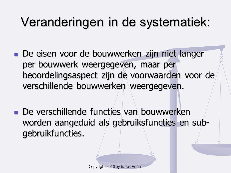Copyright 2010 by ir. Jos Ariëns Veranderingen in de systematiek: De eisen voor de bouwwerken zijn niet langer per bouwwerk weergegeven, maar per beoo