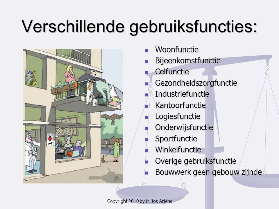 Copyright 2010 by ir. Jos Ariëns Verschillende gebruiksfuncties: Woonfunctie Bijeenkomstfunctie Celfunctie Gezondheidszorgfunctie Industriefunctie Kan