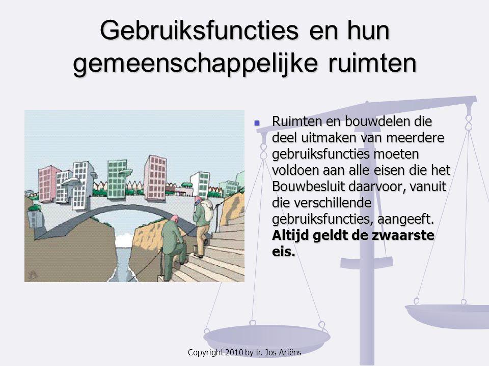 Copyright 2010 by ir. Jos Ariëns Gebruiksfuncties en hun gemeenschappelijke ruimten Ruimten en bouwdelen die deel uitmaken van meerdere gebruiksfuncti