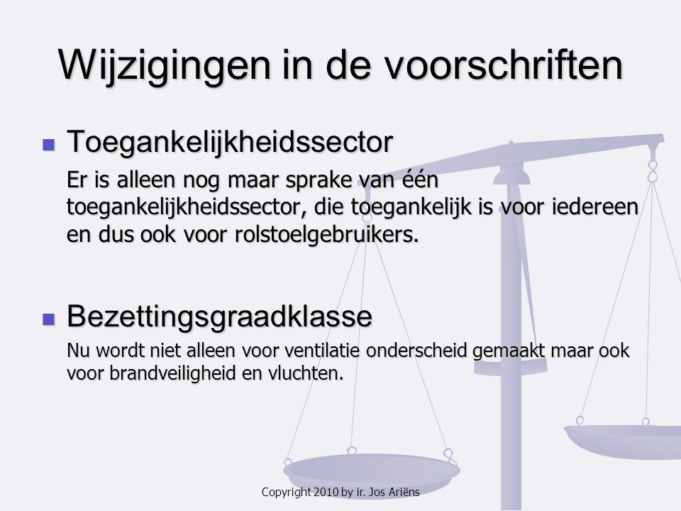 Copyright 2010 by ir. Jos Ariëns Wijzigingen in de voorschriften Toegankelijkheidssector Toegankelijkheidssector Er is alleen nog maar sprake van één