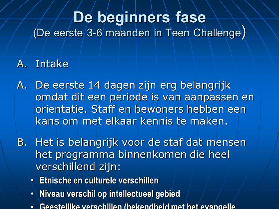 De beginners fase (De eerste 3-6 maanden in Teen Challenge ) A.Intake A.De eerste 14 dagen zijn erg belangrijk omdat dit een periode is van aanpassen en orientatie.