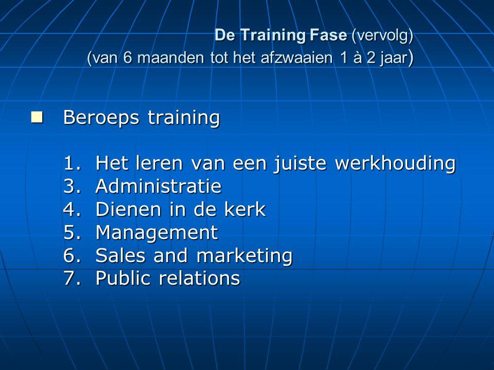 De Training Fase (vervolg) (van 6 maanden tot het afzwaaien 1 à 2 jaar ) Beroeps training Beroeps training 1.