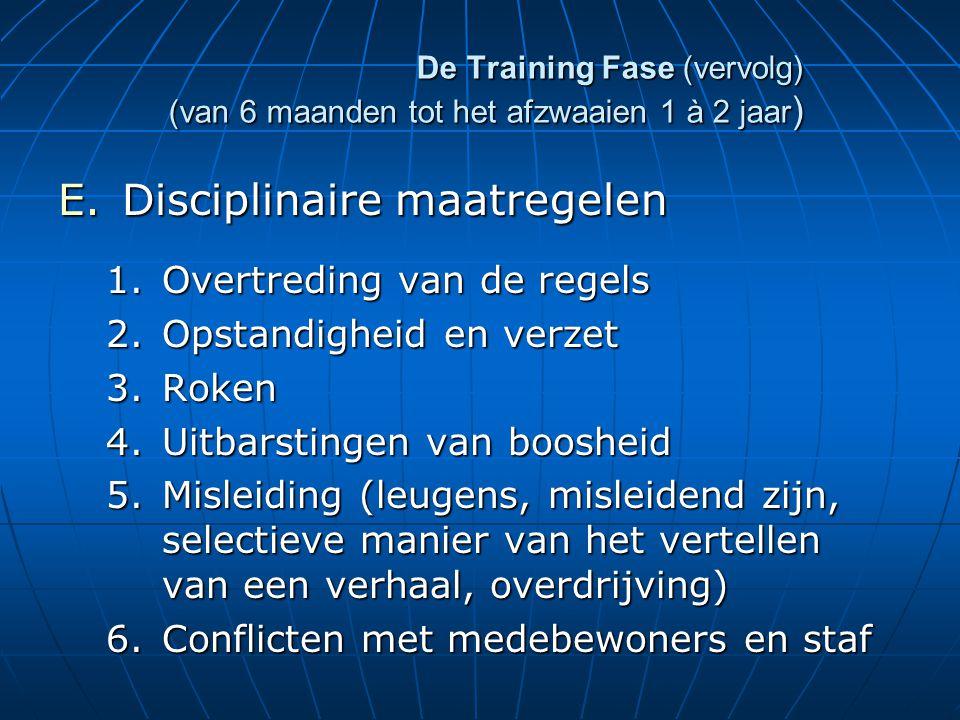 De Training Fase (vervolg) (van 6 maanden tot het afzwaaien 1 à 2 jaar ) E.Disciplinaire maatregelen 1.Overtreding van de regels 2.Opstandigheid en verzet 3.Roken 4.Uitbarstingen van boosheid 5.Misleiding (leugens, misleidend zijn, selectieve manier van het vertellen van een verhaal, overdrijving) 6.Conflicten met medebewoners en staf