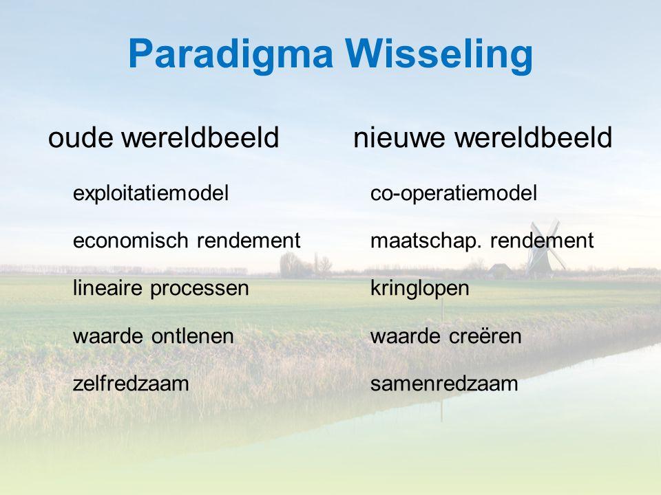 Paradigma Wisseling oude wereldbeeld nieuwe wereldbeeld exploitatiemodel co-operatiemodel economisch rendement maatschap. rendement lineaire processen
