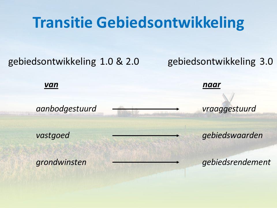 Transitie Gebiedsontwikkeling gebiedsontwikkeling 1.0 & 2.0 gebiedsontwikkeling 3.0 van naar aanbodgestuurdvraaggestuurd vastgoed gebiedswaarden grond