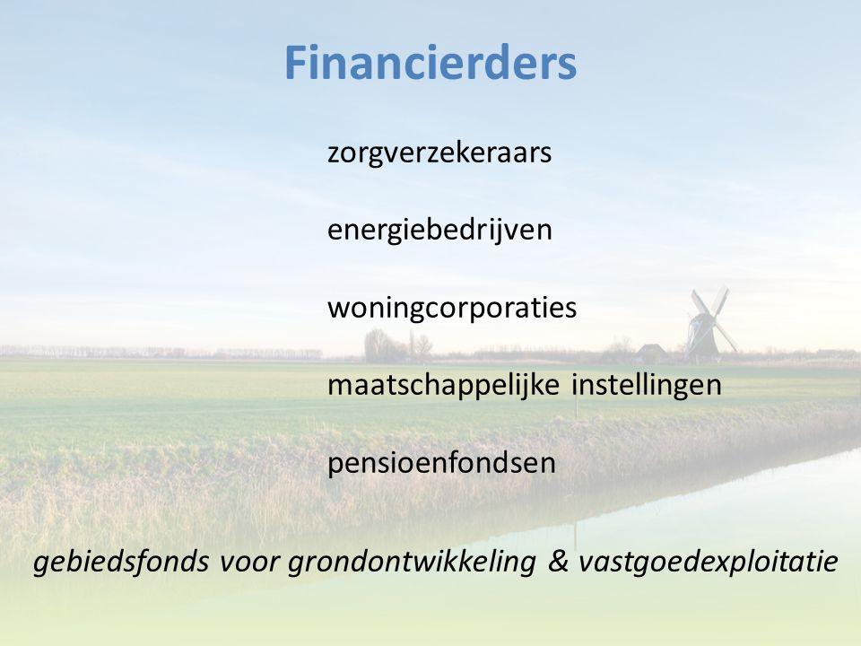 Financierders zorgverzekeraars energiebedrijven woningcorporaties maatschappelijke instellingen pensioenfondsen gebiedsfonds voor grondontwikkeling &