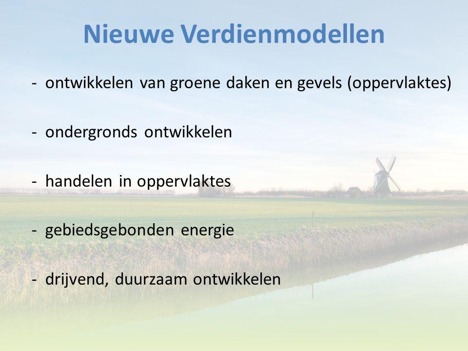 Nieuwe Verdienmodellen - ontwikkelen van groene daken en gevels (oppervlaktes) - ondergronds ontwikkelen - handelen in oppervlaktes - gebiedsgebonden