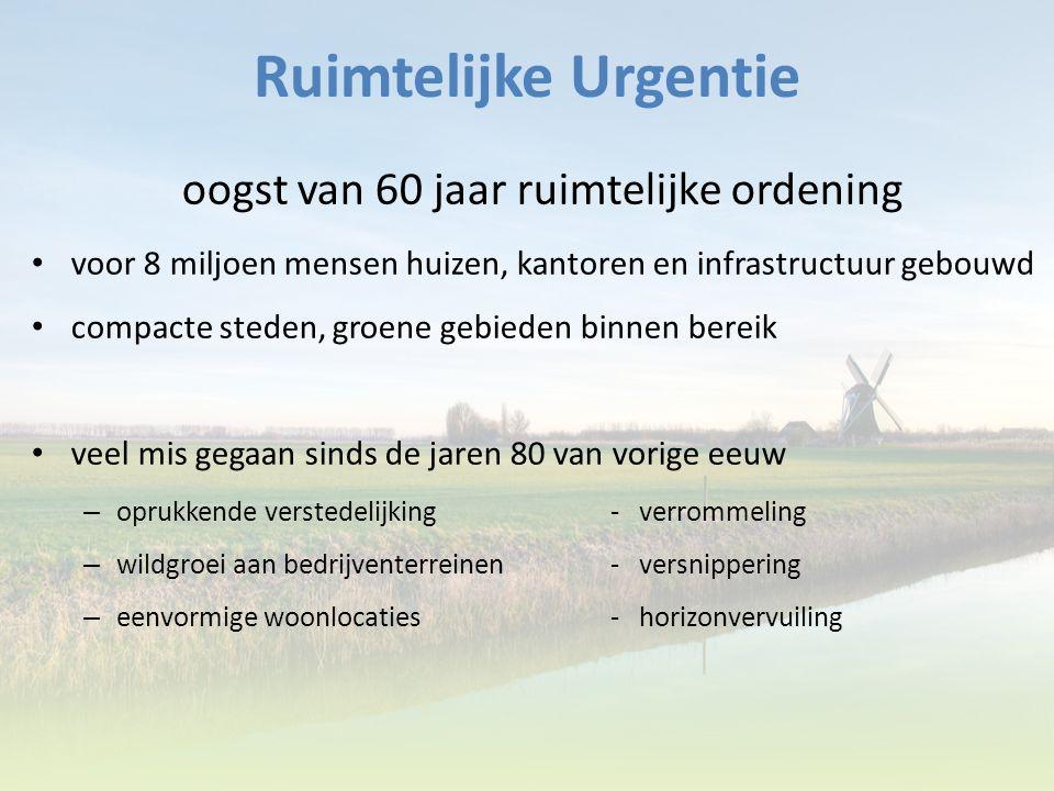 Ruimtelijke Urgentie oogst van 60 jaar ruimtelijke ordening voor 8 miljoen mensen huizen, kantoren en infrastructuur gebouwd compacte steden, groene g