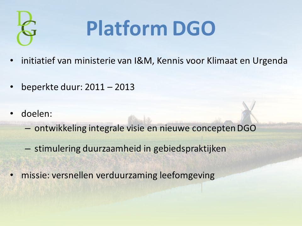 Platform DGO initiatief van ministerie van I&M, Kennis voor Klimaat en Urgenda beperkte duur: 2011 – 2013 doelen: – ontwikkeling integrale visie en ni