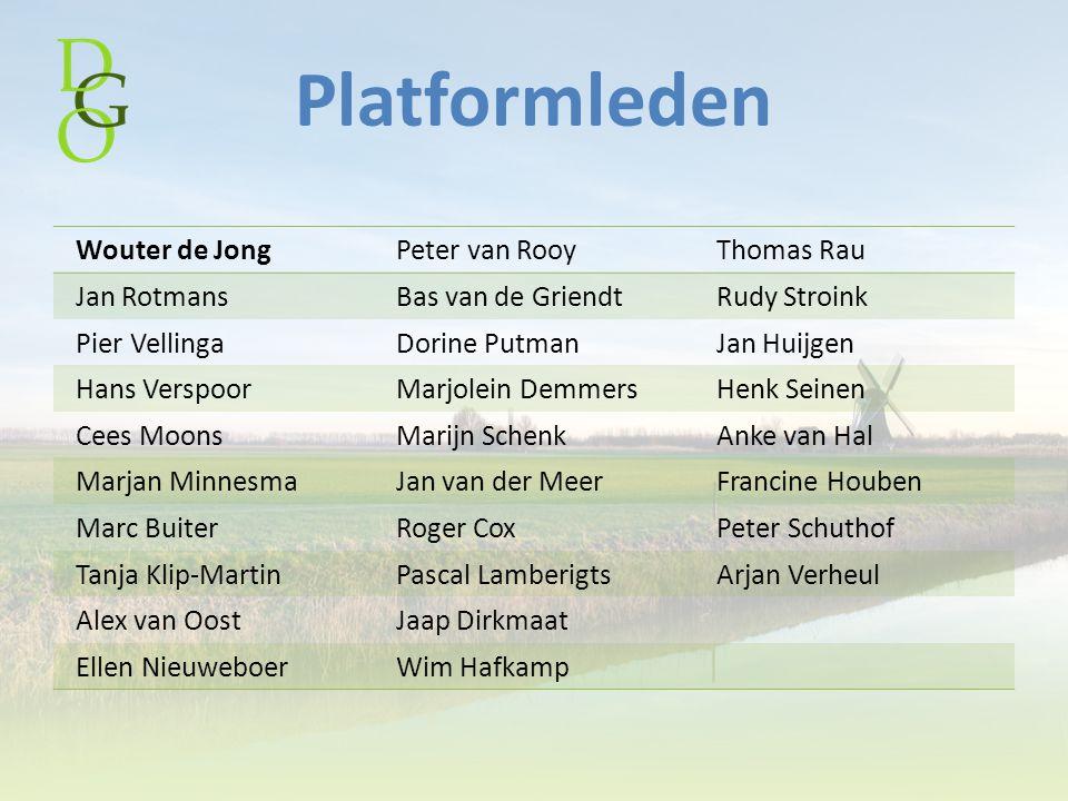 Platformleden Wouter de JongPeter van RooyThomas Rau Jan RotmansBas van de GriendtRudy Stroink Pier VellingaDorine PutmanJan Huijgen Hans VerspoorMarj