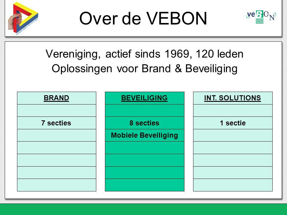 Over de VEBON Vereniging, actief sinds 1969, 120 leden Oplossingen voor Brand & Beveiliging BRAND 7 secties BEVEILIGING 8 secties Mobiele Beveiliging INT.