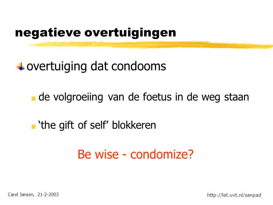 Carel Jansen, 21-2-2003 http://let.uvt.nl/sanpad negatieve overtuigingen overtuiging dat condooms de volgroeiing van de foetus in de weg staan 'the gift of self' blokkeren Be wise - condomize