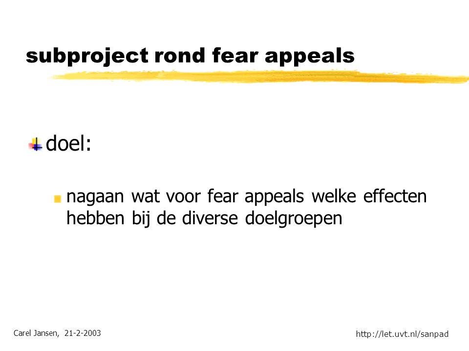 Carel Jansen, 21-2-2003 http://let.uvt.nl/sanpad subproject rond fear appeals doel: nagaan wat voor fear appeals welke effecten hebben bij de diverse