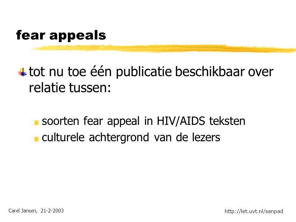 Carel Jansen, 21-2-2003 http://let.uvt.nl/sanpad fear appeals tot nu toe één publicatie beschikbaar over relatie tussen: soorten fear appeal in HIV/AIDS teksten culturele achtergrond van de lezers