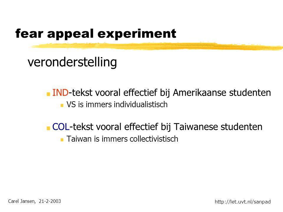 Carel Jansen, 21-2-2003 http://let.uvt.nl/sanpad fear appeal experiment veronderstelling IND-tekst vooral effectief bij Amerikaanse studenten VS is immers individualistisch COL-tekst vooral effectief bij Taiwanese studenten Taiwan is immers collectivistisch