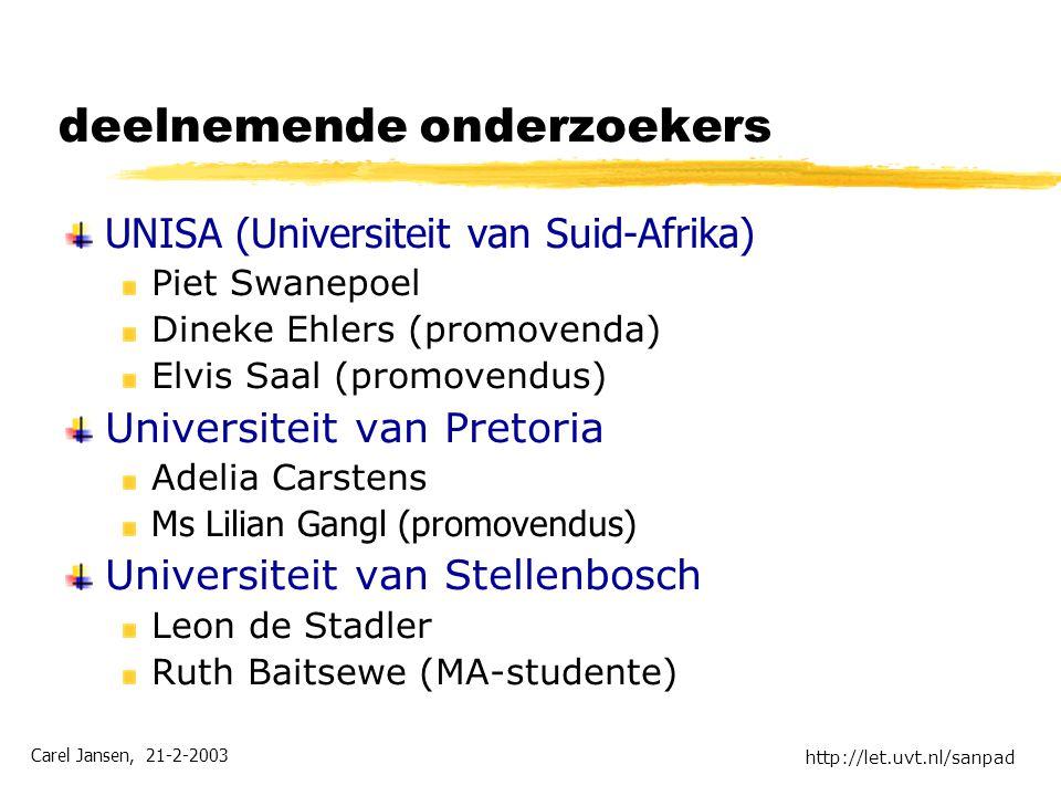 Carel Jansen, 21-2-2003 http://let.uvt.nl/sanpad deelnemende onderzoekers UNISA (Universiteit van Suid-Afrika) Piet Swanepoel Dineke Ehlers (promovend