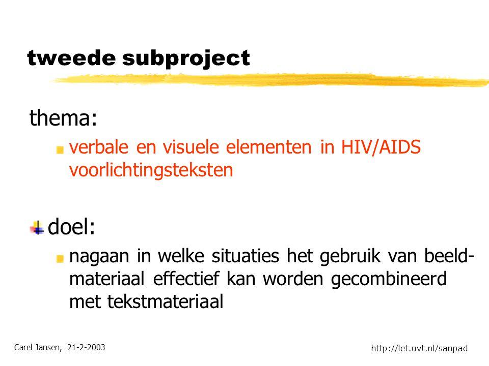 Carel Jansen, 21-2-2003 http://let.uvt.nl/sanpad tweede subproject thema: verbale en visuele elementen in HIV/AIDS voorlichtingsteksten doel: nagaan in welke situaties het gebruik van beeld- materiaal effectief kan worden gecombineerd met tekstmateriaal