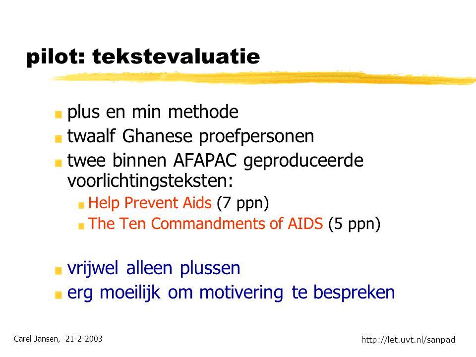 Carel Jansen, 21-2-2003 http://let.uvt.nl/sanpad pilot: tekstevaluatie plus en min methode twaalf Ghanese proefpersonen twee binnen AFAPAC geproduceer