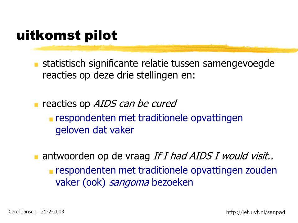 Carel Jansen, 21-2-2003 http://let.uvt.nl/sanpad uitkomst pilot statistisch significante relatie tussen samengevoegde reacties op deze drie stellingen