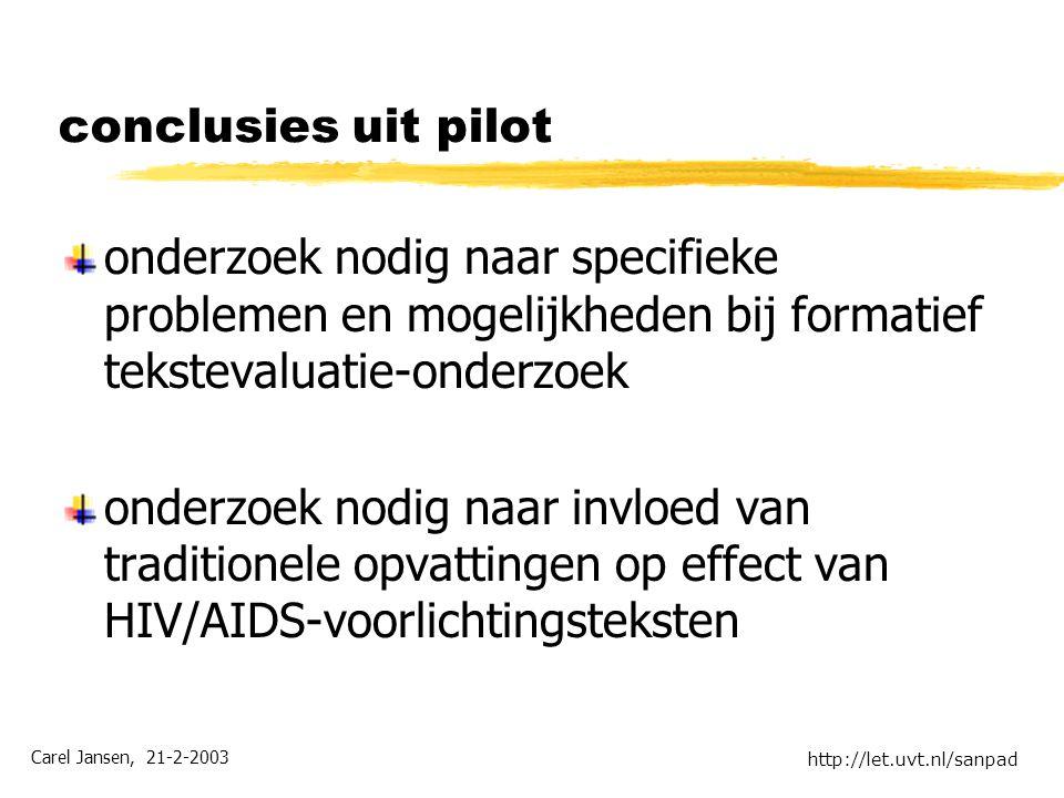 Carel Jansen, 21-2-2003 http://let.uvt.nl/sanpad conclusies uit pilot onderzoek nodig naar specifieke problemen en mogelijkheden bij formatief tekstevaluatie-onderzoek onderzoek nodig naar invloed van traditionele opvattingen op effect van HIV/AIDS-voorlichtingsteksten