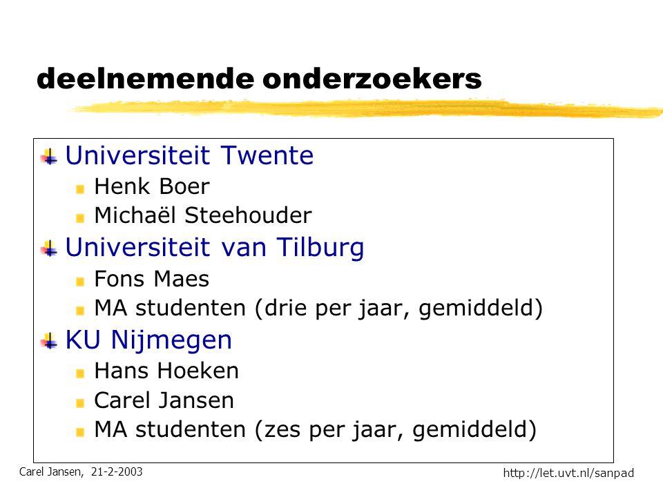 Carel Jansen, 21-2-2003 http://let.uvt.nl/sanpad deelnemende onderzoekers Universiteit Twente Henk Boer Michaël Steehouder Universiteit van Tilburg Fo