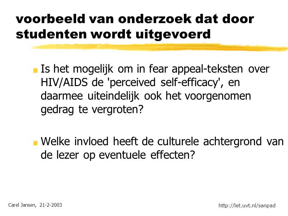 Carel Jansen, 21-2-2003 http://let.uvt.nl/sanpad voorbeeld van onderzoek dat door studenten wordt uitgevoerd Is het mogelijk om in fear appeal-teksten over HIV/AIDS de perceived self-efficacy , en daarmee uiteindelijk ook het voorgenomen gedrag te vergroten.