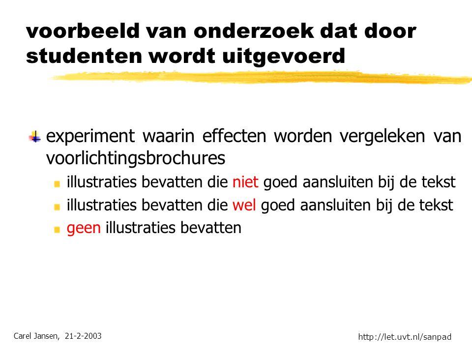 Carel Jansen, 21-2-2003 http://let.uvt.nl/sanpad voorbeeld van onderzoek dat door studenten wordt uitgevoerd experiment waarin effecten worden vergele