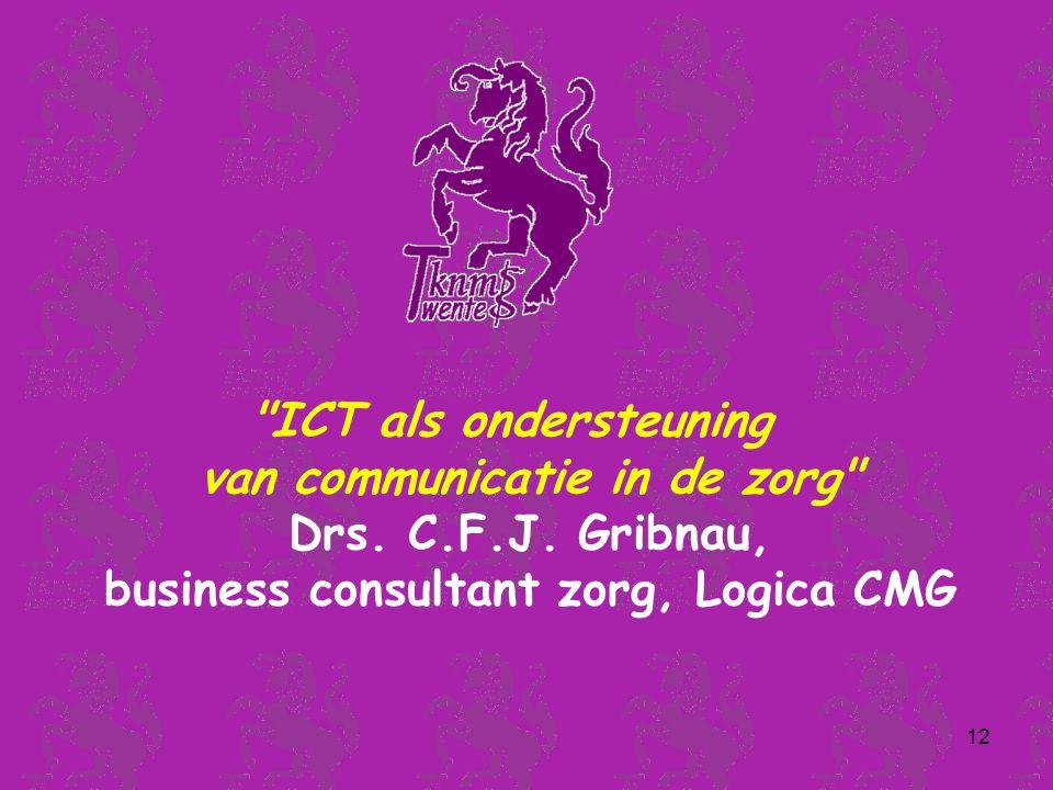 12 ICT als ondersteuning van communicatie in de zorg Drs.