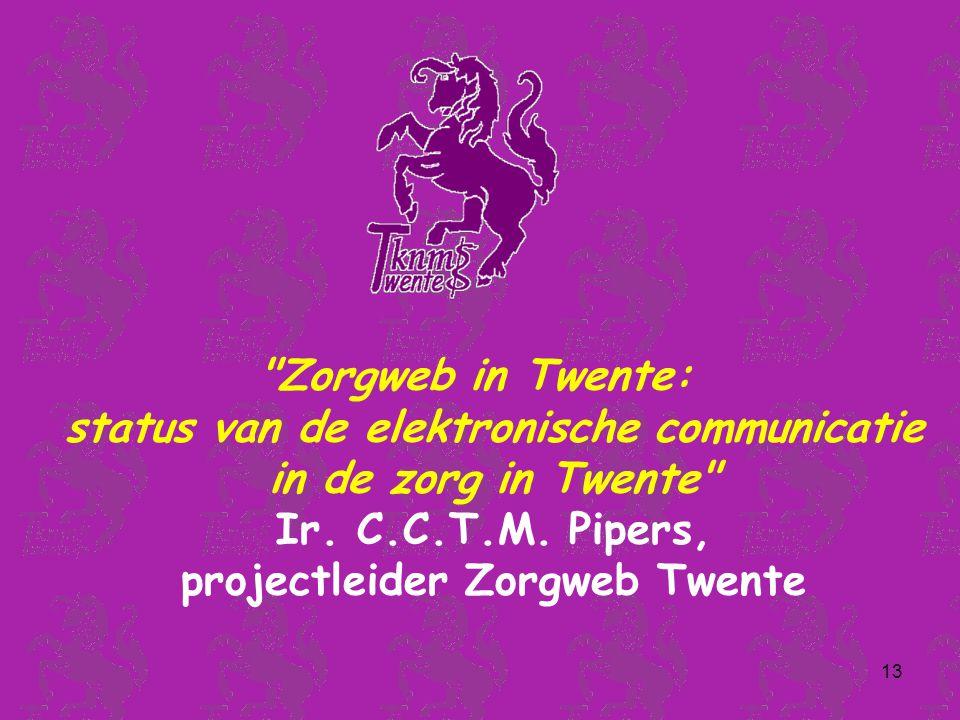 13 Zorgweb in Twente: status van de elektronische communicatie in de zorg in Twente Ir.