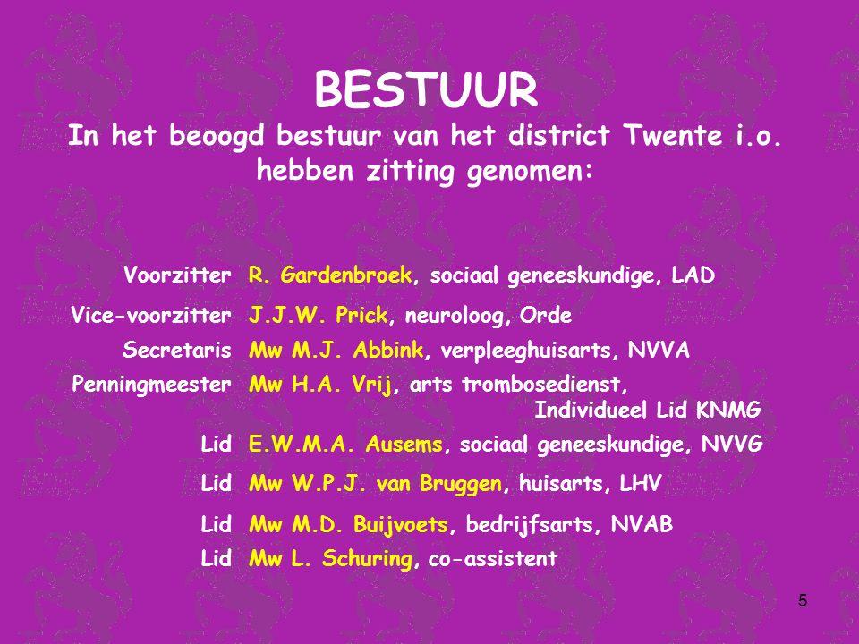 5 BESTUUR In het beoogd bestuur van het district Twente i.o.
