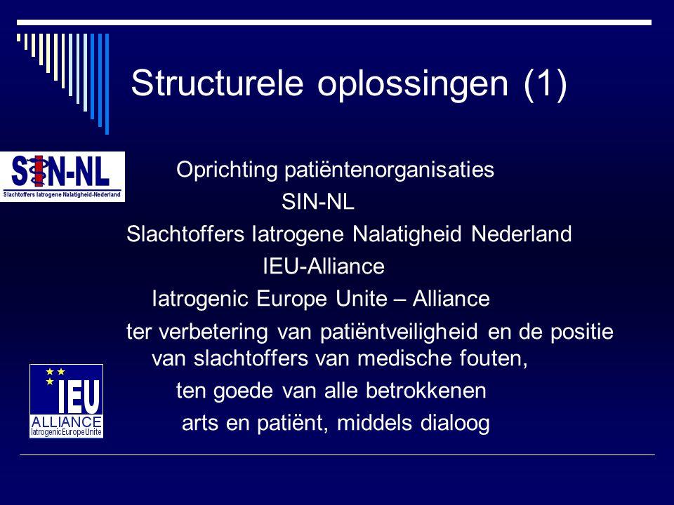 Structurele oplossingen (1) Oprichting patiëntenorganisaties SIN-NL Slachtoffers Iatrogene Nalatigheid Nederland IEU-Alliance Iatrogenic Europe Unite