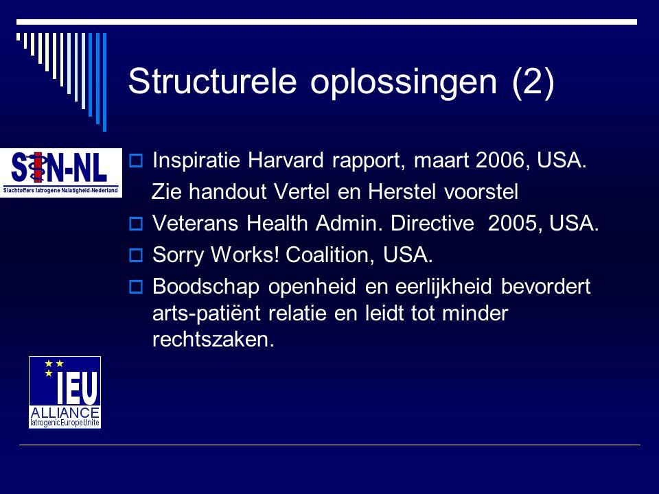 Structurele oplossingen (2)  Inspiratie Harvard rapport, maart 2006, USA. Zie handout Vertel en Herstel voorstel  Veterans Health Admin. Directive 2