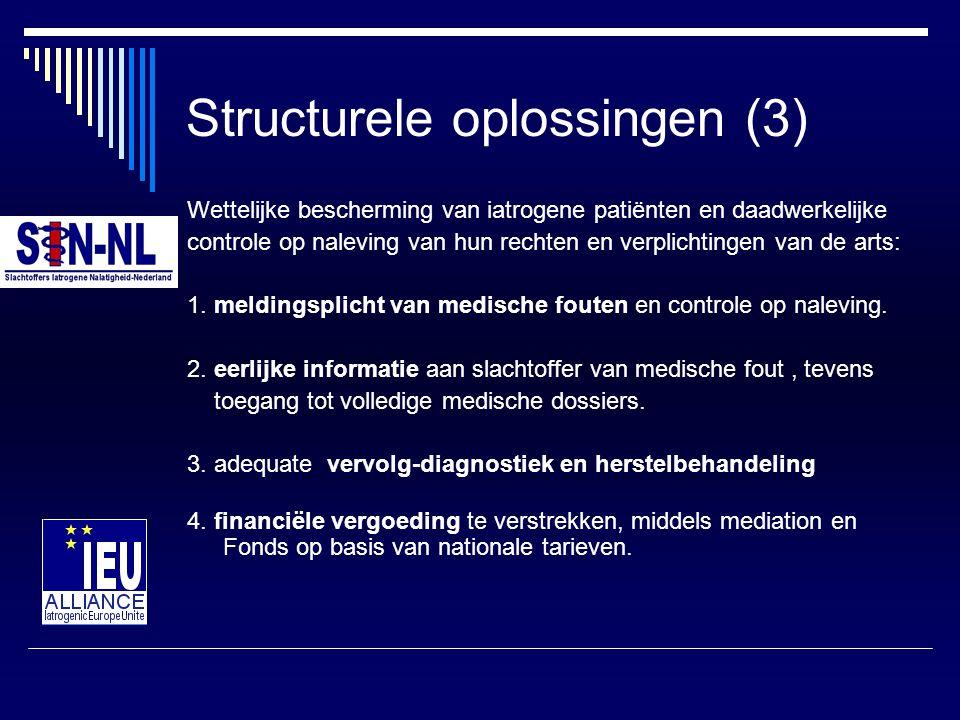 Structurele oplossingen (3) Wettelijke bescherming van iatrogene patiënten en daadwerkelijke controle op naleving van hun rechten en verplichtingen va