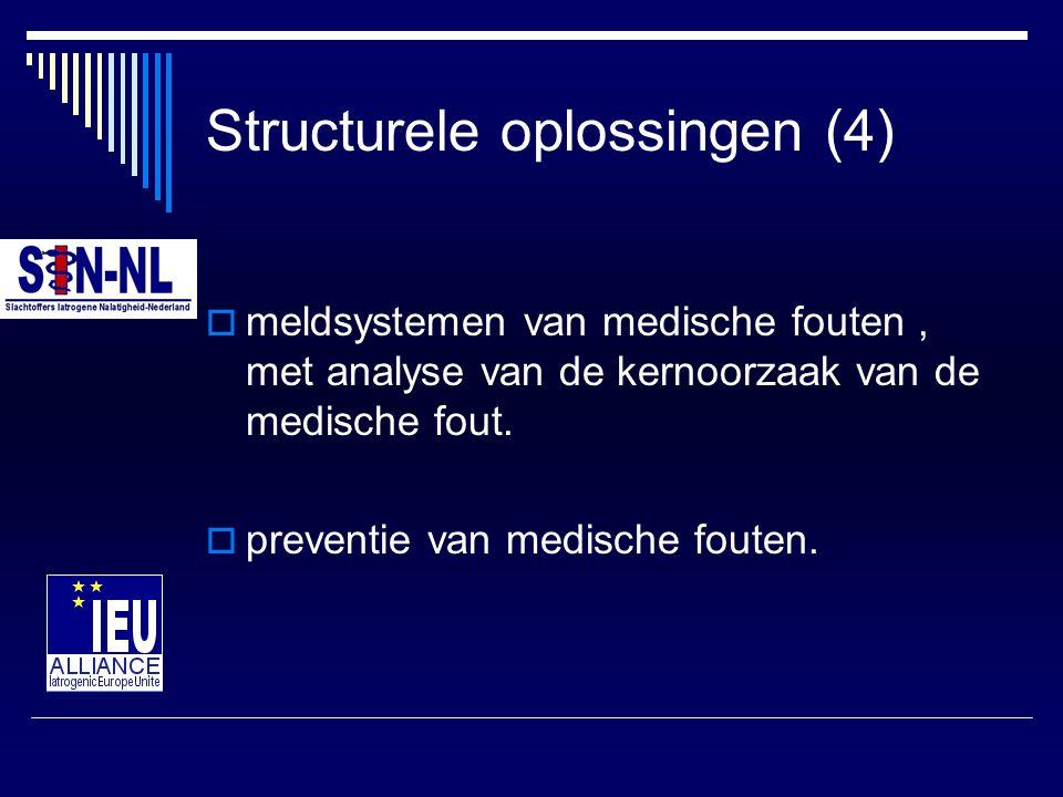Structurele oplossingen (4)  meldsystemen van medische fouten, met analyse van de kernoorzaak van de medische fout.  preventie van medische fouten.