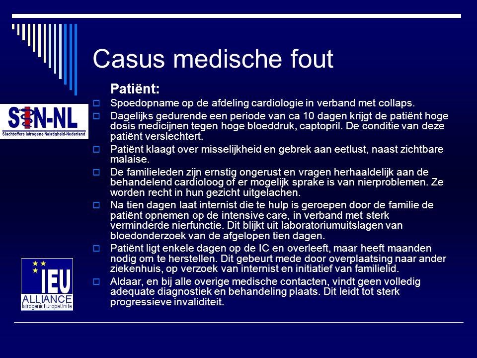 Casus medische fout Patiënt:  Spoedopname op de afdeling cardiologie in verband met collaps.  Dagelijks gedurende een periode van ca 10 dagen krijgt