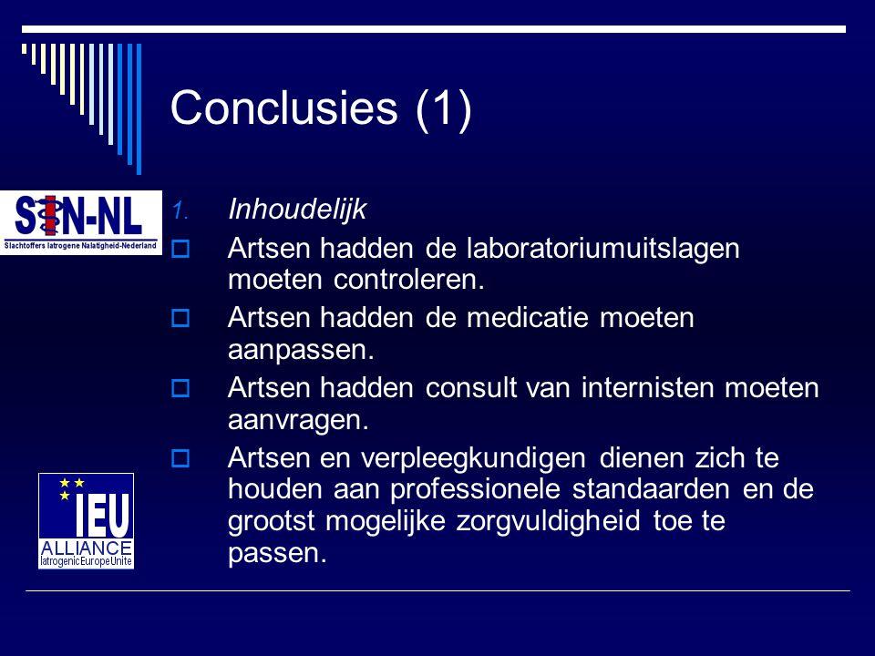 Conclusies (1) 1. Inhoudelijk  Artsen hadden de laboratoriumuitslagen moeten controleren.  Artsen hadden de medicatie moeten aanpassen.  Artsen had