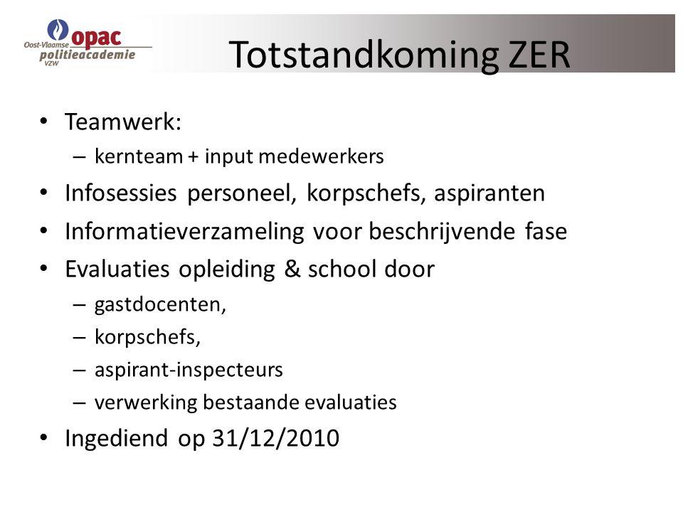 Totstandkoming ZER Teamwerk: – kernteam + input medewerkers Infosessies personeel, korpschefs, aspiranten Informatieverzameling voor beschrijvende fas